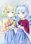 2girls :d alternate_costume blue_eyes blue_hair blue_mittens blue_vest capelet cirno commentary_request cowboy_shot daiyousei eyebrows_visible_through_hair fairy_wings fur-trimmed_capelet fur_trim green_eyes green_hair green_mittens grey_background hair_between_eyes hair_ribbon hands_together highres long_sleeves looking_at_viewer multiple_girls nibosisuzu open_mouth partial_commentary pink_capelet pleated_skirt red_capelet ribbon shirt short_hair side_ponytail skirt smile snowflake_background standing star starry_background touhou vest white_shirt wings