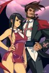 1boy 1girl absurdres bangle bangs beard black_hair bracelet breasts brown_hair commentary couple covered_nipples dress english_commentary facial_hair fringe_trim guilty_gear guilty_gear_xrd hand_on_hip height_difference highres husband_and_wife jewelry long_hair looking_afar medium_breasts microdress mustache no_bra optionaltypo panties pantyshot pantyshot_(standing) pink_sky pipe red_dress red_eyes red_panties sharon_(guilty_gear) side_slit sideboob sideburns single_wing slayer_(guilty_gear) standing swept_bangs thick_eyebrows underwear wings
