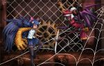 2girls animal_print arachne black_footwear black_legwear black_skin blue_hair blue_skirt bow broken_horn chain-link_fence chelshia commentary_request ellena extra_arms extra_eyes fang fence gears golem gun hair_bow hair_ribbon handgun hat hat_feather horns insect_girl khimera_destroy_all_monster_girls monster_girl multiple_girls musket pistol ponytail ray-k ribbon short_hair signature silk skirt spider_girl spider_print spider_web sword thigh-highs weapon white_hair wings