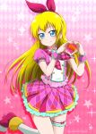 1girl absurdres argyle argyle_background bangs blonde_hair blue_eyes blush bow closed_mouth cosplay_request dokidoki!_precure floating_hair frilled_skirt frills hair_bow hairband heart heart_hands highres kneehighs leg_up long_hair looking_at_viewer miniskirt niita pink_background pink_neckwear pink_shirt pink_skirt plaid_neckwear pleated_skirt precure print_skirt red_bow red_footwear red_hairband regina_(dokidoki!_precure) shiny shiny_hair shirt short_sleeves skirt smile solo standing standing_on_one_leg thigh_strap twitter_username very_long_hair white_legwear wrist_cuffs