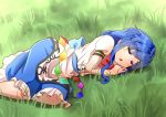 1girl :o blue_hair blue_skirt blush_stickers bow bowtie commentary_request dress eyebrows_visible_through_hair feet_out_of_frame grass head_on_hand hinanawi_tenshi layered_dress long_hair lying no_hat no_headwear on_grass on_ground on_side puffy_short_sleeves puffy_sleeves red_neckwear shiny shiny_hair shirt short_sleeves sidelocks skirt sleeping solo sugiyama_ichirou touhou very_long_hair white_shirt
