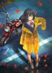 1girl absurdres autumn_leaves bangs black_hair blue_eyes blunt_bangs bow cardigan from_above ground_vehicle highres huge_filesize looking_at_viewer motor_vehicle motorcycle nihoshi_(bipedal_s) original outdoors puddle raincoat ripples short_hair solo