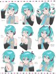 1girl :p alternate_hair_length alternate_hairstyle aqua_eyes aqua_hair aqua_nails aqua_neckwear bare_shoulders black_sleeves blush bob_cut braid commentary detached_sleeves grey_shirt hair_bun hair_ornament hand_up hatsune_miku headphones headset highres holding holding_hair index_finger_raised long_hair looking_at_viewer medium_hair multiple_views nail_polish necktie open_mouth shirt short_hair short_twintails shoulder_tattoo sleeveless sleeveless_shirt smile supo01 tattoo tongue tongue_out translated twin_braids twintails upper_body v-shaped_eyebrows vocaloid