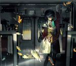 1girl absurdres bag black_hair blue_eyes bottle bow closed_mouth collared_shirt commentary_request ear_piercing earrings fish glasses ground_vehicle hair_ornament hairclip high_collar highres jacket jewelry kukka original pantyhose piercing pleated_skirt ribbon shirt shopping_bag skirt spring_onion track_jacket train train_interior water_bottle