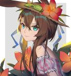 1girl absurdres amiya_(arknights) animal_ears arknights bare_shoulders blue_eyes brown_hair closed_mouth flower from_side goggles goggles_on_head hair_between_eyes hat hat_flower highres long_hair looking_at_viewer off-shoulder_shirt off_shoulder plaid plaid_shirt rabbit_ears red_flower shirt short_sleeves smile solo sun_hat upper_body very_long_hair xtears_kitsune