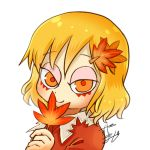 1girl aki_shizuha avatar_icon blonde_hair chamaji commentary covering_mouth dress eyebrows_visible_through_hair hair_between_eyes hair_ornament leaf leaf_hair_ornament leaf_on_head looking_at_viewer lowres maple_leaf red_dress short_hair signature smile solo touhou white_background yellow_eyes