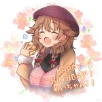 1girl :o ^_^ a5g7a5d8 bangs beret blush bow braid brown_hair brown_jacket closed_eyes cream_puff fang floral_background food hair_bow happy_birthday hat holding holding_food jacket long_sleeves nijisanji red_bow red_headwear solo twin_braids upper_body virtual_youtuber warabeda_meijii