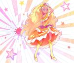 1girl amamiya_erena bare_shoulders blonde_hair blush boots choker commentary_request cure_soleil dark_skin dress full_body hair_ornament high_heel_boots high_heels highres knee_boots kyoutsuugengo long_hair looking_at_viewer magical_girl orange_dress pose precure purple_choker purple_earrings smile solo star star_hair_ornament star_twinkle_precure starry_background sun_(symbol) tiara very_long_hair violet_eyes wrist_cuffs yellow_footwear