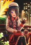 1girl :d abo_(kawatasyunnnosukesabu) animal bag_on_lap bangs bench bird_hair_ornament black_hair black_legwear blue_bow blurry bow cat coat commentary_request depth_of_field earrings flower frilled_skirt frills fur-trimmed_coat fur_trim gloves grey_headwear hair_bow hair_ornament hair_over_one_eye hat_ornament highres jewelry lamppost long_hair long_sleeves night open_mouth original outdoors pantyhose park_bench polka_dot polka_dot_bow red_bow sitting skirt smile solo waving winter_clothes