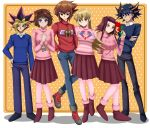 3boys 3girls akiza_izinski alexis_rhodes amber_eyes arms_behind_back black_hair blue_eyes blue_sweater blush brown_eyes brown_hair couple crossed_arms dark_magician_girl deviantart dots dotted_background fudou_yuusei full_body happy izayoi_aki long_hair mazaki_anzu multicolored_hair mutou_yuugi orange_eyes pink_sweater red_sweater redhead short_hair sincity2100 smile tenjouin_asuka violet_eyes winged_kuriboh yu-gi-oh! yugi_mutou yuu-gi-ou yuu-gi-ou_5d's yuu-gi-ou_duel_monsters yuu-gi-ou_gx
