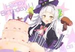 1girl absurdres blush breasts cake capelet commentary_request crop_top dated food food_in_mouth gloves hair_bun hair_ornament hair_ribbon happy_birthday hat highres hololive ice_cream lavender_hair long_hair looking_at_viewer meat midriff murasaki_shion navel open_mouth ribbon small_breasts solo star tam-u virtual_youtuber witch_hat yellow_eyes