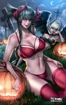 2girls bikini black_hair black_horns black_lips black_wings choker crescent_moon crossed_legs demon_girl eliza_(tekken) feathered_wings ghost glasses glowing glowing_eyes graves graveyard halloween hibren highres horns jack-o'-lantern long_hair moon multiple_girls original print_bikini pumpkin purple_lips red_bikini red_eyes red_horns short_hair succubus swimsuit tekken tekken_revolution tombstone white_hair wings