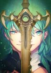 1boy 1girl byleth_(fire_emblem) byleth_(fire_emblem)_(female) byleth_(fire_emblem)_(male) closed_mouth dated fire_emblem fire_emblem:_three_houses green_eyes green_hair medium_hair portrait short_hair sword t_keima twitter_username weapon