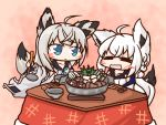 2girls =_= ahoge aka_shiba animal_ears azur_lane bangs black_sailor_collar blue_eyes blue_neckwear blush_stickers bowl chopsticks closed_eyes commentary_request crossed_bangs daikon food fox_ears fox_girl fox_tail gradient gradient_background grey_eyes holding holding_chopsticks holding_ladle hololive hotpot kawakaze_(azur_lane) kotatsu ladle looking_at_another multiple_girls mushroom nabe neckerchief oden pot sailor_collar shirakami_fubuki sidelocks sitting spring_onion table tail tofu under_kotatsu under_table virtual_youtuber wavy_mouth white_hair wide_sleeves