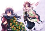 1boy 1girl animal_print belt black_hair blush breath butterfly_hair_ornament butterfly_print cold hair_ornament haori japanese_clothes katana kimetsu_no_yaiba kochou_shinobu long_hair multicolored_hair mutospectacle purple_hair scarf sheath sheathed smile snow sword tomioka_giyuu two-tone_hair uniform weapon white_belt