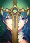 1boy 1girl blue_eyes blue_hair byleth_(fire_emblem) byleth_(fire_emblem)_(female) byleth_(fire_emblem)_(male) closed_mouth dated fire_emblem fire_emblem:_three_houses medium_hair portrait short_hair sword t_keima twitter_username weapon