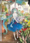 1girl aqua_hair basket blue_dress blue_eyes bouquet chiyakoa dress dress_bow flower frills hair_ribbon hatsune_miku hatsune_miku_expo highres holding holding_bouquet outdoors plant potted_plant purple_ribbon red_ribbon ribbon sleeveless solo standing twintails vocaloid