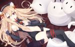 1girl animal_ears bangs bare_shoulders bell black_legwear blonde_hair blush breasts cat cat_ears cat_tail commentary eyebrows_visible_through_hair fake_animal_ears fate/kaleid_liner_prisma_illya fate_(series) gom_bear illyasviel_von_einzbern long_hair long_sleeves looking_at_viewer lying navel red_eyes small_breasts smile solo tail thigh-highs