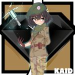 1girl absurdres akiyama_yukari anglerfish antyobi0720 arm_behind_back bangs belt beret brown_belt brown_eyes brown_gloves brown_hair brown_jacket brown_pants camouflage cargo_pants closed_mouth commentary cosplay electricity emblem eyebrows_visible_through_hair girls_und_panzer gloves green_bandana green_headwear green_neckwear hat highres jacket kaid_(rainbow_six_siege) kaid_(rainbow_six_siege)_(cosplay) looking_at_viewer messy_hair military military_uniform pants pouch rainbow_six_siege sam_browne_belt short_hair smile solo standing uniform weapon