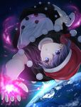 1girl black_dress blue_eyes blue_hair cacao_devil doremy_sweet dream_soul dress earth expressionless grabbing hat nightcap open_mouth pom_pom_(clothes) short_sleeves solo space sunlight touhou upside-down white_dress white_footwear