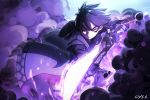 1boy bai_yemeng black_hair eyebrows_visible_through_hair fighting_stance fingerless_gloves gloves glowing glowing_eyes glowing_weapon highres holding holding_sword holding_weapon katana male_focus original purple_gloves red_eyes shaded_face signature smoke solo sword vambraces weapon