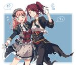 !? 2girls arm_around_waist bang_dream! bangs belt belt_chain beret black_bow black_cape black_jacket black_neckwear black_pants blue_background blue_eyes bow cape collared_shirt corset cropped_jacket earrings flirting glove_bow gloves green_eyes grey_headwear grey_skirt grin hair_down hair_ornament hairclip hand_up hat hat_bow jacket jewelry looking_at_viewer multiple_girls necktie notice_lines outline pants pink_hair plaid_hat plaid_jacket ponytail re_ghotion red_vest redhead shirt sidelocks skirt smile spoken_interrobang spoken_sparkle udagawa_tomoe uehara_himari v-shaped_eyebrows vest waist_cape white_gloves white_outline white_shirt