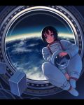 1girl astronaut black_hair blue_eyes closed_mouth earth floating floating_object headwear_removed helmet helmet_removed highres holding holding_helmet indoors original science_fiction short_hair smile solo spacesuit star_(sky) window window1228