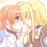 2girls blonde_hair blue_eyes blush closed_eyes collared_shirt couple fate_testarossa forehead-to-forehead happy holding_hands interlocked_fingers jacket kerorokjy long_hair long_sleeves looking_at_another lowres lyrical_nanoha mahou_shoujo_lyrical_nanoha mahou_shoujo_lyrical_nanoha_strikers military military_uniform multiple_girls orange_hair red_ribbon ribbon shirt side_ponytail simple_background smile takamachi_nanoha two-tone_background uniform very_long_hair white_background white_shirt yellow_ribbon yuri