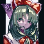 1girl :3 bow dress eating_hair frills front_ponytail green_eyes green_hair hair_bow hair_ribbon kagiyama_hina long_hair looking_at_viewer red_dress ribbon smile solo touhou washman711