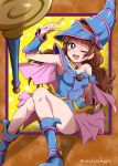 1girl ;d absurdres amanogawa_kirara armpits blue_footwear blush boots breasts brown_hair cosplay dark_magician_girl dark_magician_girl_(cosplay) go!_princess_precure highres index_finger_raised long_hair looking_at_viewer medium_breasts miniskirt niita one_eye_closed open_mouth pink_capelet pink_skirt pleated_skirt precure shiny shiny_hair sitting skirt sleeveless smile solo staff twitter_username very_long_hair violet_eyes yuu-gi-ou