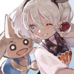 1girl blue_eyes bow dark_skin grey_hair gym_leader hair_bow highres hitmontop one_eye_closed pokemon pokemon_(creature) pokemon_(game) pokemon_swsh saitou_(pokemon) short_hair supika white_background
