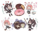 >_< 3girls :x ahoge animal_ears aoba_moca bang_dream! bangs black_hair black_legwear black_serafuku black_shirt black_skirt brown_eyes brown_footwear bunny_tail cat_ears character_request chibi commentary_request crying dog_ears dog_tail doughnut flying_sweatdrops food grey_hair grey_skirt heart holding holding_sword holding_weapon kemonomimi_mode kneehighs long_hair long_sleeves low_twintails multiple_girls mushroom plaid plaid_skirt pleated_skirt ponytail rabbit_ears re_ghotion school_uniform serafuku shaded_face shinai shirt shoes short_hair sidelocks skirt sparkle spoken_no_symbol sword tail translation_request twintails uehara_himari weapon white_shirt