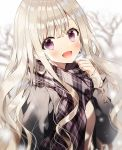 1girl :d bare_tree black_jacket blurry breath brown_hair depth_of_field fringe_trim hand_up jacket long_hair long_sleeves looking_at_viewer open_mouth original plaid plaid_scarf scarf sidelocks smile solo tree upper_body violet_eyes wavy_hair weri winter_clothes