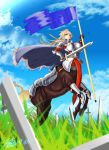 1girl ahoge armor bangs belt blonde_hair blue_flag blunt_bangs breastplate breasts broken broken_sword broken_weapon capelet centaur chainmail cleavage_cutout clouds commentary dated field flag full_armor gauntlets grass holding holding_flag holding_sword holding_weapon hooves horse_tail knight large_breasts long_hair looking_at_viewer mixed-language_commentary monster_girl multiple_legs original plate_armor red_eyes sheath shin_guards signature sky solo sword tail thick_eyebrows weapon zippedsquire