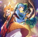 2girls :d armor armored_dress baggy_pants bangs blonde_hair blue_hair commentary_request double_bun dress electric_guitar eyebrows_visible_through_hair guitar hair_ribbon haniyasushin_keiki head_scarf highres holding holding_instrument instrument joutouguu_mayumi light_particles long_hair looking_at_viewer multiple_girls nonomaro open_mouth pants puffy_short_sleeves puffy_sleeves red_eyes ribbon shirt short_hair short_sleeves signature smile touhou vambraces white_pants white_ribbon white_shirt yellow_dress yellow_eyes