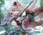 1girl angry animal_ears bare_shoulders detached_sleeves fighting_stance geta hat inubashiri_momiji leaf maple_leaf meronpan_(ghzk2583) open_mouth pom_pom_(clothes) red_eyes red_skirt shield shirt short_hair silver_hair skirt solo sword tail tengu-geta tokin_hat touhou water waterfall weapon white_hair white_shirt wolf_ears wolf_tail