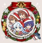 4girls akatsuki_(kantai_collection) alternate_costume anchor_symbol bauble bell black_legwear blue_eyes box brown_eyes brown_gloves brown_hair cake candy candy_cane capelet chibi christmas_ornaments christmas_stocking christmas_wreath commentary_request cyrillic dress enemy_lifebuoy_(kantai_collection) fang flat_cap folded_ponytail food fur-trimmed_capelet fur_trim gift gift_box gingerbread_man gloves grey_background hair_ornament hairclip hat hibiki_(kantai_collection) highres hizuki_yayoi ikazuchi_(kantai_collection) inazuma_(kantai_collection) kantai_collection long_hair looking_at_viewer messy_hair multiple_girls one_eye_closed pantyhose purple_hair red_dress red_headwear russian_text santa_costume santa_hat shinkaisei-kan short_hair silver_hair skin_fang sparkle star violet_eyes wreath