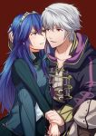 1boy 1girl ameno_(a_meno0) black_cloak blue_eyes blue_hair blush cloak collarbone commentary_request eye_contact eyebrows_visible_through_hair fire_emblem fire_emblem_awakening fire_emblem_heroes grima_(fire_emblem) hair_between_eyes hair_ornament hand_on_another's_head holding holding_another's_arm hood hood_down hooded_cloak long_hair looking_at_another lucina_(fire_emblem) open_clothes open_mouth red_background red_eyes robin_(fire_emblem) robin_(fire_emblem)_(male) short_hair simple_background sweatdrop teeth tiara white_hair