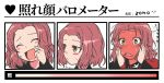 1girl artist_name blush brown_eyes closed_eyes commentary fang flying_sweatdrops frown full-face_blush fume girls_und_panzer hands_on_own_face highres insignia jacket long_sleeves looking_at_viewer looking_away medium_hair open_mouth red_jacket redhead rosehip scratching_cheek skin_fang smile solo st._gloriana's_military_uniform sweatdrop translated zono_(inokura_syuzo029)