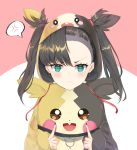 1girl aqua_eyes asymmetrical_bangs asymmetrical_hair bangs black_hair black_nails blush breasts choker commentary_request earrings eyebrows_visible_through_hair frown gom_bear green_eyes hair_ribbon highres jewelry long_sleeves looking_at_viewer mary_(pokemon) morpeko open_clothes pokemon pokemon_(game) pokemon_swsh red_ribbon ribbon solo twintails