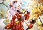 1girl animal_ears autumn bubble_tea mullpull nail_polish