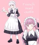 2girls closed_mouth cup english_text fire_emblem fire_emblem:_three_houses highres hilda_valentine_goneril holding holding_plate long_hair long_sleeves lysithea_von_ordelia maid maid_headdress multiple_girls one_eye_closed pink_background pink_eyes pink_hair plate rimooo_n simple_background smile teacup twintails white_hair white_legwear