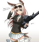 1girl bird_tail black_jacket blue_eyes commentary_request goggles goggles_on_head gradient gradient_background gun hanna-justina_marseille head_wings highres ichiren_namiro jacket light_brown_hair long_hair long_sleeves looking_at_viewer machine_gun miniskirt pleated_skirt shirt skirt solo striker_unit weapon white_shirt white_skirt world_witches_series