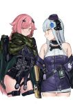 2girls absurdres assault_rifle camouflage_cape german_text girls_frontline green_eyes gun h&k_hk416 hair_ribbon hat highres hk416_(girls_frontline) id_card iron_cross kuro_(zhurunbo1997) magazine_(weapon) mini_hat mod3_(girls_frontline) multiple_girls ntw-20_(girls_frontline) pink_eyes pink_hair prosthesis prosthetic_arm ribbon rifle scope silver_hair weapon