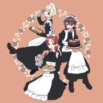3girls apron baumkuchen blonde_hair blue_eyes bow brown_eyes brown_hair cake commentary_request erica_hartmann food frills gertrud_barkhorn hair_bow hairband highres ichiren_namiro juliet_sleeves long_hair long_skirt long_sleeves low_twintails maid maid_apron maid_headdress mary_janes minna-dietlinde_wilcke multiple_girls orange_eyes orange_hair puffy_sleeves shoes short_hair skirt strike_witches twintails waist_apron white_apron world_witches_series