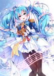 1girl :d absurdres band_uniform beamed_eighth_notes blue_eyes blue_hair blue_headwear blue_jacket blush bow breasts brown_legwear commentary_request eighth_note epaulettes french_horn glint gloves goroo_(eneosu) hair_ornament hairclip hat hatsune_miku highres holding holding_instrument instrument jacket long_hair long_sleeves medium_breasts mini_hat mini_shako_cap musical_note musical_note_print open_mouth pantyhose pink_jacket pleated_skirt round_teeth shako_cap skirt smile snowflake_print solo teeth twintails upper_teeth very_long_hair vocaloid white_bow white_gloves white_skirt x_hair_ornament yuki_miku yuki_miku_(2020)