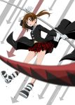 1girl absurdres arrow black_coat blurry_foreground brown_eyes brown_hair cosplay floating_hair full_body gloves highres holding holding_scythe long_hair long_sleeves maka_albarn maka_albarn_(cosplay) miniskirt necktie niita open_mouth plaid plaid_skirt pleated_skirt precure red_skirt sakagami_ayumi scythe skirt smile_precure! solo soul_eater striped striped_neckwear twintails white_gloves