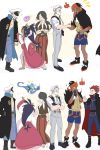 3girls 4boys beard black_hair blue_hair cape dark_skin dark_skinned_male dracaena_(pokemon) dragonair dress facial_hair genji_(pokemon) hands_in_pockets handshake hat hood hoodie ibuki_(pokemon) iris_(pokemon) kibana_(pokemon) long_coat long_hair multiple_boys multiple_girls mustache pokemon purple_hair redhead rotom_phone shaga_(pokemon) shorts suspenders wataru_(pokemon) white_hair