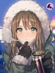1girl blush brown_hair buttons can canned_coffee coat eyebrows_visible_through_hair face_mask fur-trimmed_jacket fur_trim gloves green_coat green_eyes hooded_coat jacket mask original speech_bubble trembling veryberry00 visible_air winter winter_clothes winter_coat