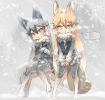 2girls alternate_costume animal_ears blush cold commentary_request cosplay eyebrows_visible_through_hair ezo_red_fox_(kemono_friends) fox_ears fox_girl fox_tail fur_collar gloves gradient gradient_legwear grey_legwear grey_wolf_(kemono_friends) grey_wolf_(kemono_friends)_(cosplay) highres jacket kemono_friends kolshica long_hair long_sleeves multicolored multicolored_clothes multicolored_hair multicolored_legwear multiple_girls necktie no_shoes orange_hair plaid plaid_neckwear plaid_skirt pleated_skirt silver_fox_(kemono_friends) silver_hair skirt sleeve_cuffs snow snowing tail thigh-highs translated white_gloves white_hair white_legwear yellow_eyes